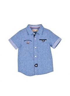Silversun Kids Erkek Bebek Nakışlı Cep Detaylı Dokuma Gömlek - Gc 115292